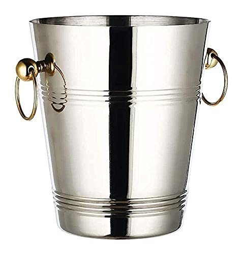 Secchiello per il ghiaccio riutilizzabile, refrigeratore per vino in acciaio inox, con manico, per conservare il ghiaccio congelato più a lungo, 5 x 23 cm