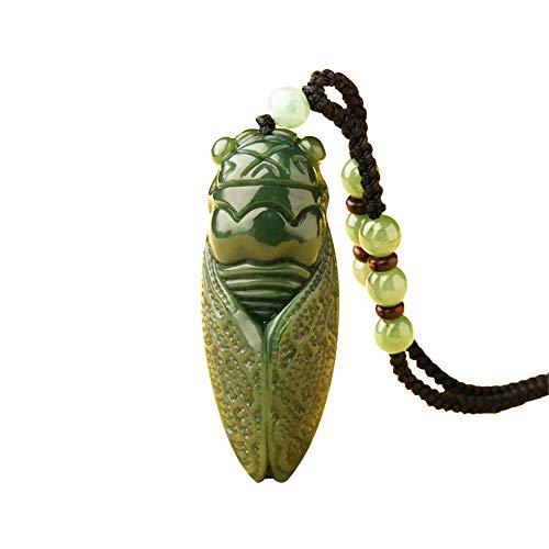 TYGJB Handarbeit Natürliche Dark Grün HeTian Jade Geschnitzt Zikade Glück Amulett Anhänger Edlen Schmuck
