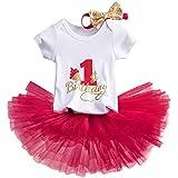 TTYAOVO Bebé Niña 1er cumpleaños 3pcs Conjuntos con Diadema de Unicornio y Mameluco y Faldas (10 Rojo, 1 año)