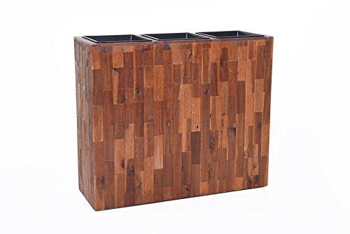 Vivanno Pflanzkübel Raumteiler Sichtschutz Trennelement Elemento aus Holz Akazie 75x90x30 cm, Braun