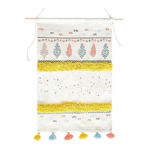 Lxxiulirzeu Boho decoración Tapiz Colgar de la Pared de la Sala Cotton Line Pintura de la...
