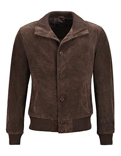Smart Range Leather Herren Classic Bomberjacke Brown Wildleder Leder 70er Jahre Retro Aviator Jacke 5838 (L)