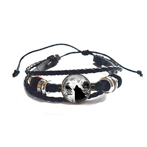 Brazalete hecho a mano de lobo aullado, pulsera de luna llena con cadena, brazalete negro de lobo y luna, accesorios para hombres y mujeres-#84
