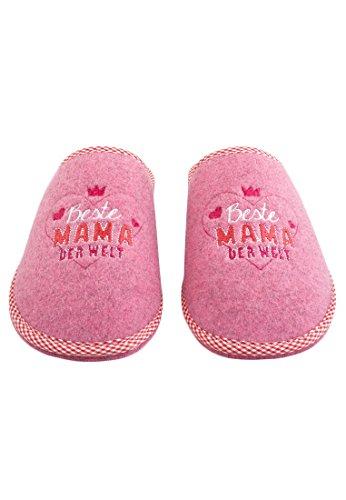 Adelheid Beste Mama Filzpantoffel, Farbe:rosa, Größe:36/37