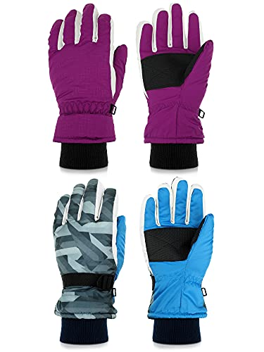 2 Pairs Kids Snow Gloves Winter Waterproof Gloves Youth Windproof Snow Ski Gloves Toddler Snowboard Gloves with Hook and Loop for 6-13 Years Old Children Sledding Cycling