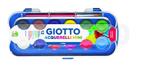 Fila Giotto Acuarelas Mini 23 Mm. Est. 12 Uds. + Pincel, Colores Variados