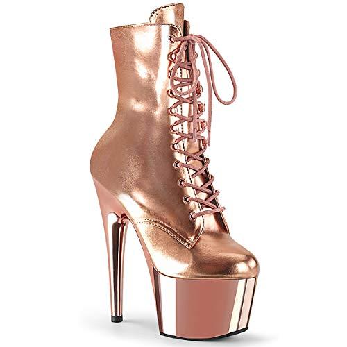Pleaser Damen ADORE-1020 Plateau High Heels Stiefelette PU Rose Gold 42.5 EU