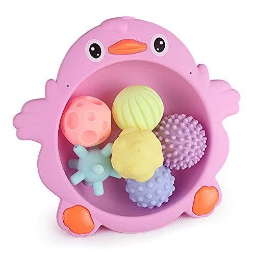 DishyKooker Juguete de broma, juguete de masaje, pelota de masaje para bebés, multitextura, seguridad para morder, pegamento para baño, juguete, bola de masaje con bandeja, 400 g (bolsa de red)