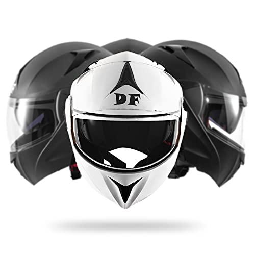 DIEFFE Casco modular para moto DF901, casco modular abatible, con doble visera antiarañazos y antivaho, homologado ECE 22 05 (blanco brillante, pequeño)