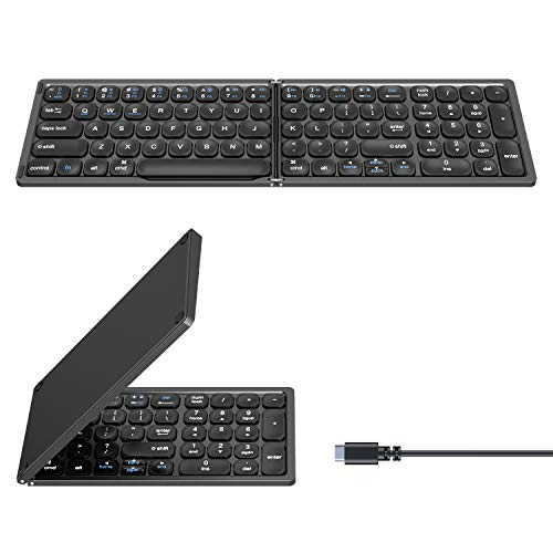 Wireless Foldable Bluetooth Keyboard for Apple iPad Pro/iPad Air/iPad mini/Phone, Rechargeable Full Size Ultra Slim Wireless Keyboard with Numeric Keypads Compatible with iOS/Windows/Android(Upgraded)