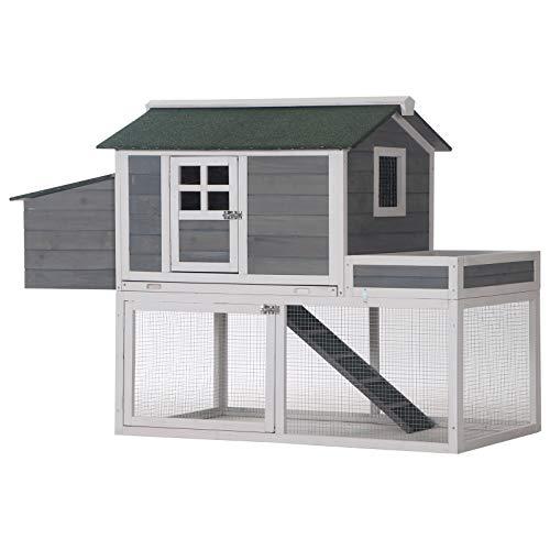 Pawhut Hühnerstall Hühnerhaus mit Nistkasten Pflanzkasten Grau Tannenholz Metalldraht Asphalt 160 x 80 x 110 cm