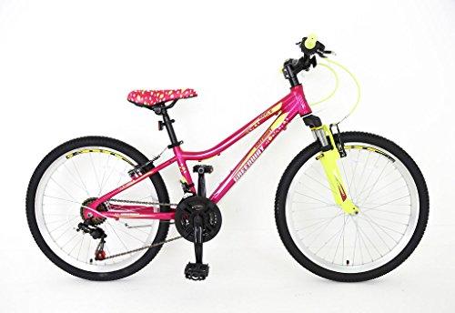 Northwest Guitars–20pulgada para bicicleta de montaña de aleación de las niñas–Luz Peso Suspensión montaña Bike- oscuro rosa