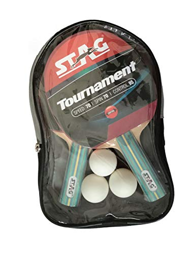 STAG Tournament Table Tennis Playset | 2 Racquets & 3 Balls (White), (Model: Tour-Set WH)