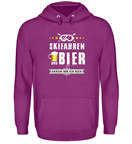 Skifahrer T-Shirt Hoodie Ski & Bier für Winterurlaub - Unisex Kapuzenpullover Hoodie -XXL-Magenta Magic