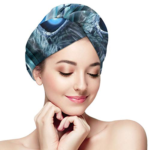 Blue Neon Skull Headset Microfiber Hair Towel Wrap for Women Super Absorbent Quick Dry Hair Turban for Drying Curly Spa Towel 11¡± X 28¡±