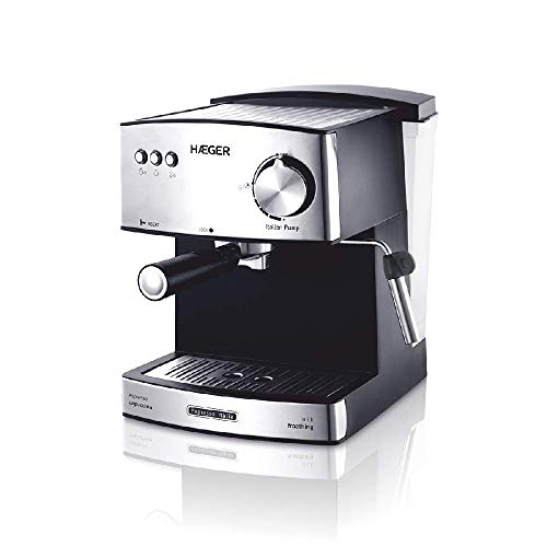 Haeger CM-85B.009A Espresso-Kaffeemaschine ITALIA mit 850 W Leistung, Kapazität 1,6 l, Kessel aus Aluminiumlegierung, variable Dampfeinstellung, abnehmbarer Wassertank