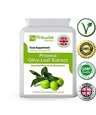PROWISE OLIVE LEAF EXTRACT 6750mg 60 capsules, manufactured in the UK to GMP code of practice, suitable for vegetarians and vegans from PROWISE HEALTHCARE