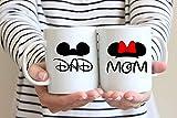 Mickey Mom Minnie Dad Disney Couples Mug - Funny Couple Mug Set -11OZ Coffee Mug - Funny Mug Set - Mugs For boyfriend and Girlfriend and Husband and wife -