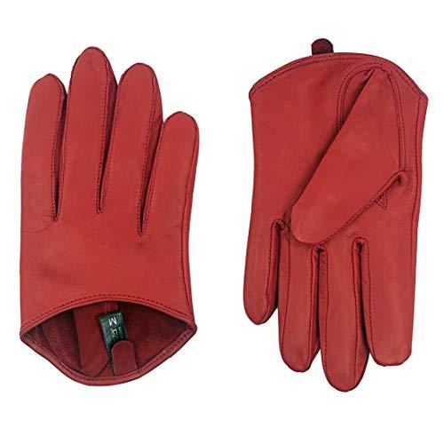 Harssidanzar Guantes cortos de piel de cordero para mujer con media palma sin forro GL011EU,Rojo,talla M