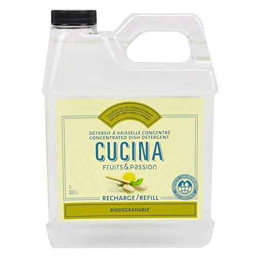 Fruits & Passion Cucina Dish Detergent Refill Sea Salt and Amalfi Lemon, 33.8 oz