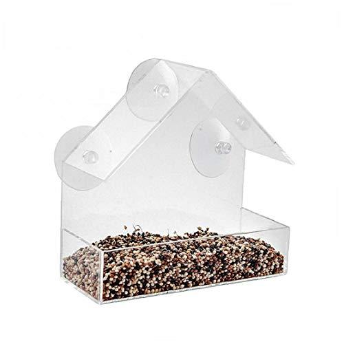 KHHGTYFYTFTY 1PC Bird Feeder Triángulo acrílico Birdhouse Que cuelga del alimentador del pájaro de la Ventana Observación de Aves Regalo de la Novedad para Padres e Hijos