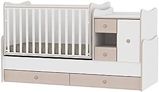Lit bébé évolutif/combiné MiniMax 3en1 Lorelli blanc/chêne (le lit bébé se transforme en: bureau, armoire, lit d'adolescen...