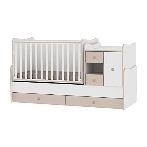 Lit bébé évolutif/combiné MiniMax 3en1 Lorelli blanc/chêne (le lit bébé se transforme en: bureau, armoire, lit d'adolescent) Lorelli