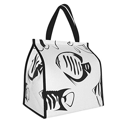 Y-shop Ocean Flock of Fish Sketchy Print Sealife Aquarium Animals with Stripes Artwork Image Black and White Picnic Freezer Bag,Bag Picnic Camping Beach Tour BBQ 30l