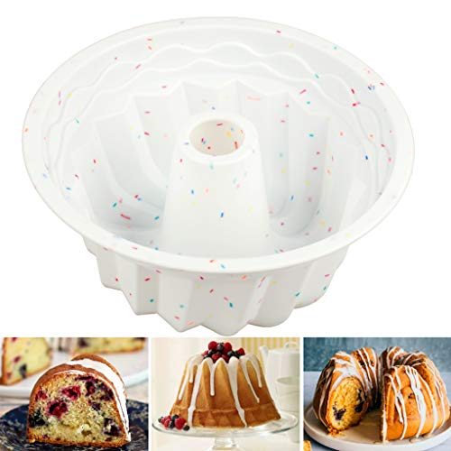 Shebaking Silicone Fluted Cake Mold, Non-Stick Baking Mold for Jello, Cake,Gelatin,Bread, 9-Inch Tube Cake Pan Bakeware, European-Grade Silicone Baking Pan