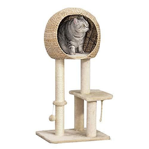 Pawhut Katzenbaum Kratzbaum Kätzchen Möbel mit Katzenhöhle Ballspielzeug Sisal weiche Plüsch Höhe 100 cm Beige