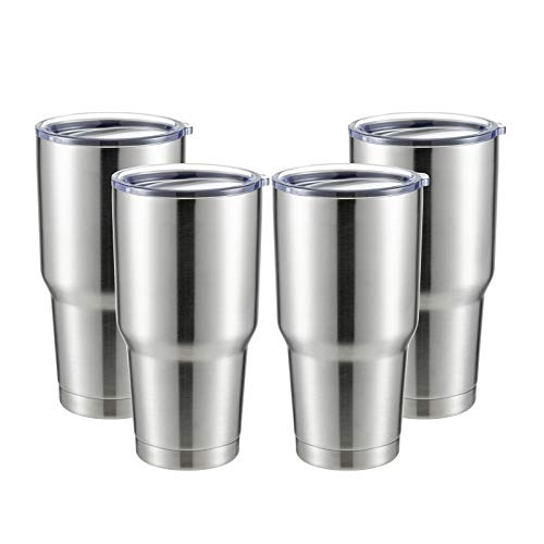COMOOO 30oz Stainless Steel Tumbler Bulk with Lid Insulated Tumbler Coffee Cup Durable Double Wall Vacuum Travel Coffee Mug Thermal for Hot and Cold Drinks (Silver, 4 Pack)