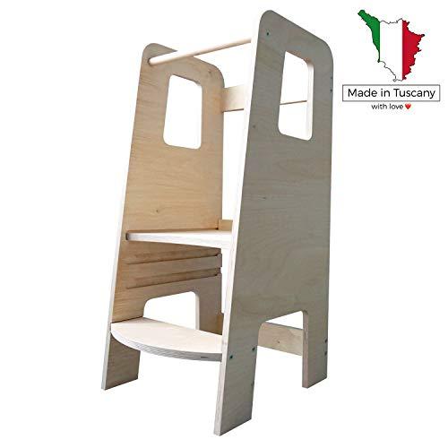 ùlly by moblì® | la prima Learning Tower in legno naturale | Realizzata in Italia secondo i principi Montessori | Progettata da esperti educatori | Torre di apprendimento con ripiani regolabili