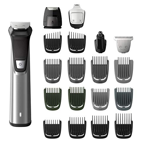 Philips Norelco MG7750/49 Multigroom Series 7000, Men's Grooming Kit with Trimmer for Beard, No Blade Oil Needed, Silver