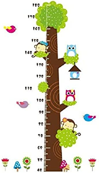 COVPAW Wall Stickers US Stock Height Chart Measure Scale Decor Zoo Animal Owl Tree Growth Chart Kids Nursery Baby Room