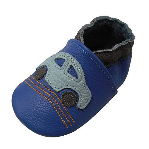 YALION Premium Weich Leder Babyschuhe Krabbelschuhe Lauflernschuhe Hausschuhe mit Auto Blau, EU 18/19=S