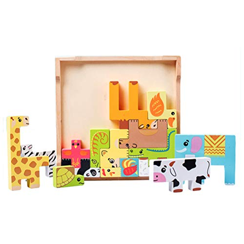 MAOJIE Madera Animal Tetris deslizante Jigsaw Puzzle Tangram Junta Juguete Educativo Desarrollo Juguetes para Niños