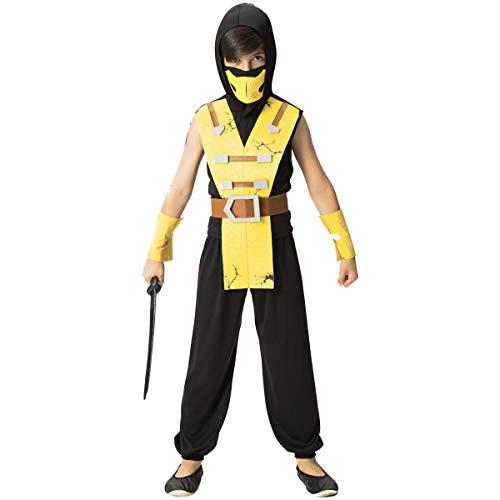 Fantasia De Ninja Infantil Menino Samurai Amarelo Com Capuz (P 2)