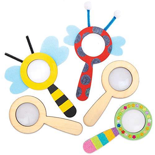 Baker Ross Diseña Tus Propias Lupas de Madera - Actividades educativas para niños (paquete de 5)