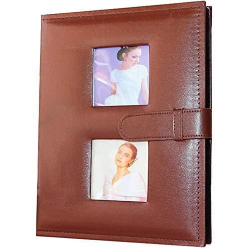 EDCV 7 inch 200pocket Fotoalbum Plakboek Baby Familiealbum Plakboek Bruiloft PU-leer Kinderfotoalbum, Chocolade