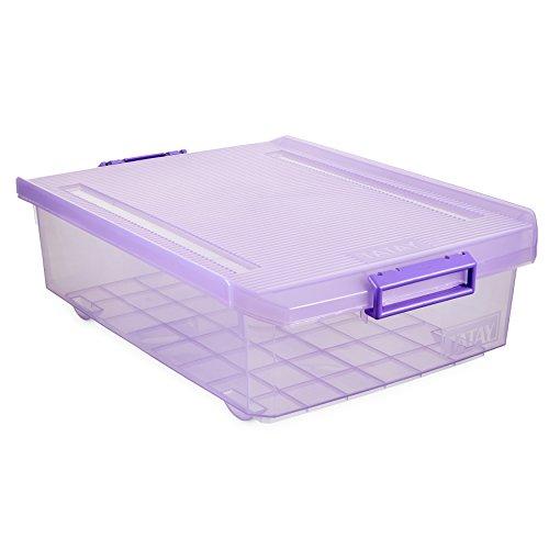 Tatay 1151213 Caja de Almacenamiento Multiusos Bajo Cama con Tapa, 32 l de Capacidad, Plástico Polipropileno Libre de BPA, Lila Translúcido, 40 x 56 x 17,5 cm