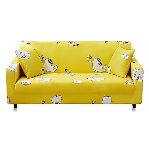 ASCV Fundas de sofá elásticas Antideslizantes Fundas de poliéster Spandex Cuatro Estaciones Todo Incluido Sofá elástico Toalla de sofá A3 4 plazas