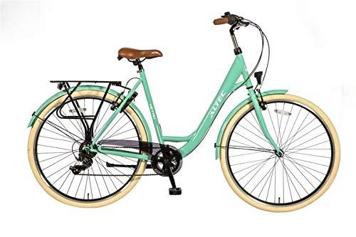 Altec 28 Zoll Damen Mädchen City Trekking Fahrrad Rad Bike Damenrad Cityfahrrad Damenfahrrad Cityrad Trekkingfahrrad Trekkingrad 7 Shimano Gang Beleuchtung Metro 55 cm GRÜN