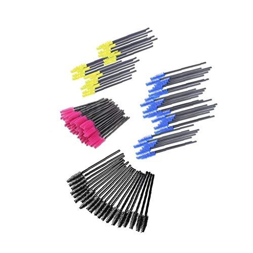 200 PCS à usage unique Cils Mascara Brosses colorés Cils Wands beauté Applicateur de maquillage noir/jaune/bleu/Rose Rouge