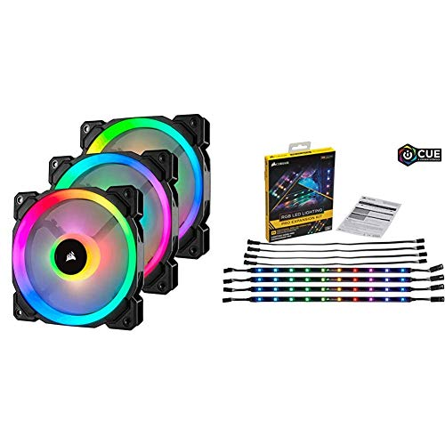 Corsair LL120 RGB LED PWM PC-Gehäuselüfter (120mm Dual Licht Loop RGB LED, Dreierpack mit RGB LED Lighting PRO Erweiterungskit) schwarz
