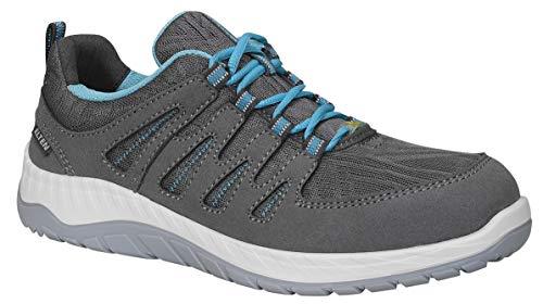 ELTEN Sicherheitsschuhe MADDIE grey Low ESD S1P, Damen, sportlich, leicht, grau/blau, Stahlkappe, schlanke Passform