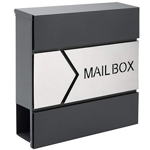 Monzana Design Briefkasten Stahl anthrazit mit Zeitungsfach 2 Schlüssel Zeitungsrolle Wandbriefkasten