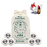 Bola de secadora perfumada Ovillos de lana Lavadora Pelotas Reutilizables Quitapelusas Juego de bolas de colada 6 bolas (7 cm) 100% lana Nueva Zelanda + [1pcs] Aceite esencial de regalo