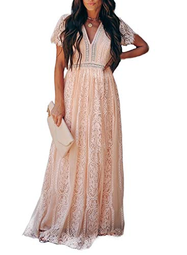 Bdcoco Women's V Neck Floral Lace Wedding Dress Short Sleeve Bridesmaid Evening Party Maxi Dress Pink