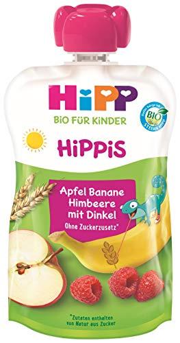 HiPP HiPPiS Früchte und Getreide Quetschbeutel, Apfel-Banane-Himbeere mit Vollkorn, 100% Bio-Früchte und Getreide, Ohne Zuckerzusatz, 6 x 100 g Beutel