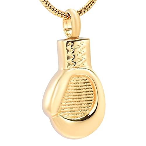 TIANZXS Gold Boxhandschuh Asche Urne Anhänger Feuerbestattung Schmuck-Edelstahl Trauerschmuck (Boxhandschuh)Gold